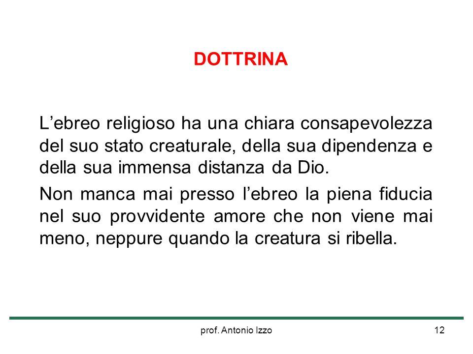 prof. Antonio Izzo12 DOTTRINA Lebreo religioso ha una chiara consapevolezza del suo stato creaturale, della sua dipendenza e della sua immensa distanz