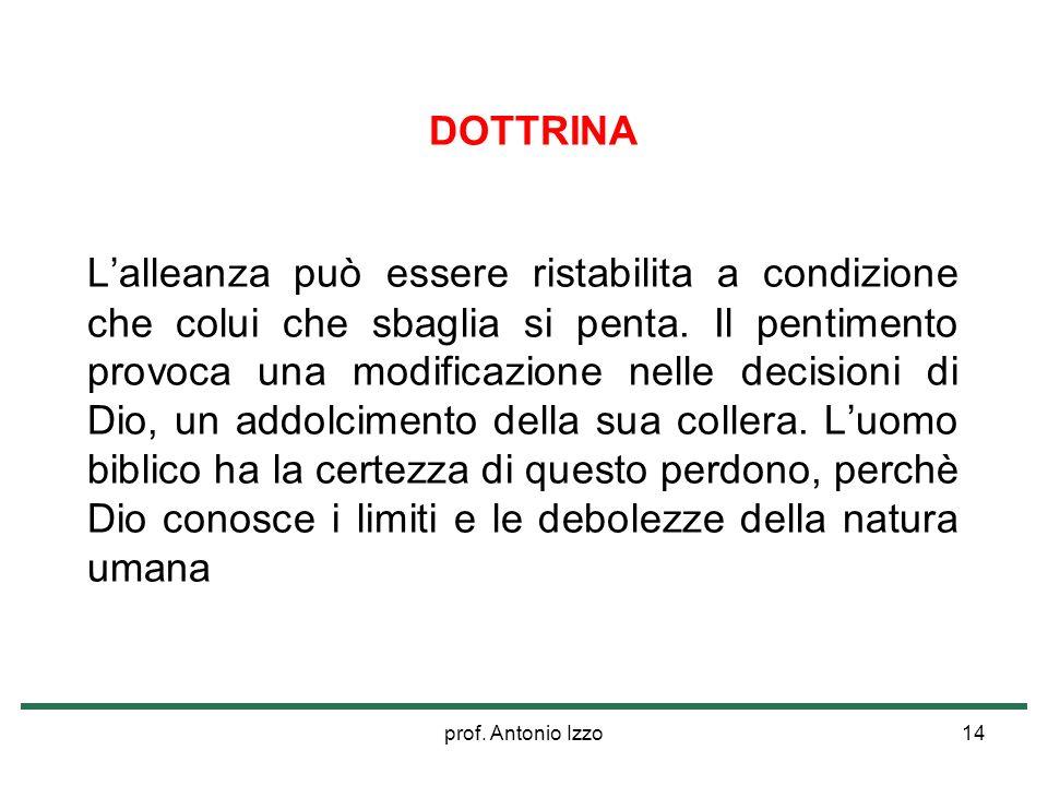 prof. Antonio Izzo14 DOTTRINA Lalleanza può essere ristabilita a condizione che colui che sbaglia si penta. Il pentimento provoca una modificazione ne