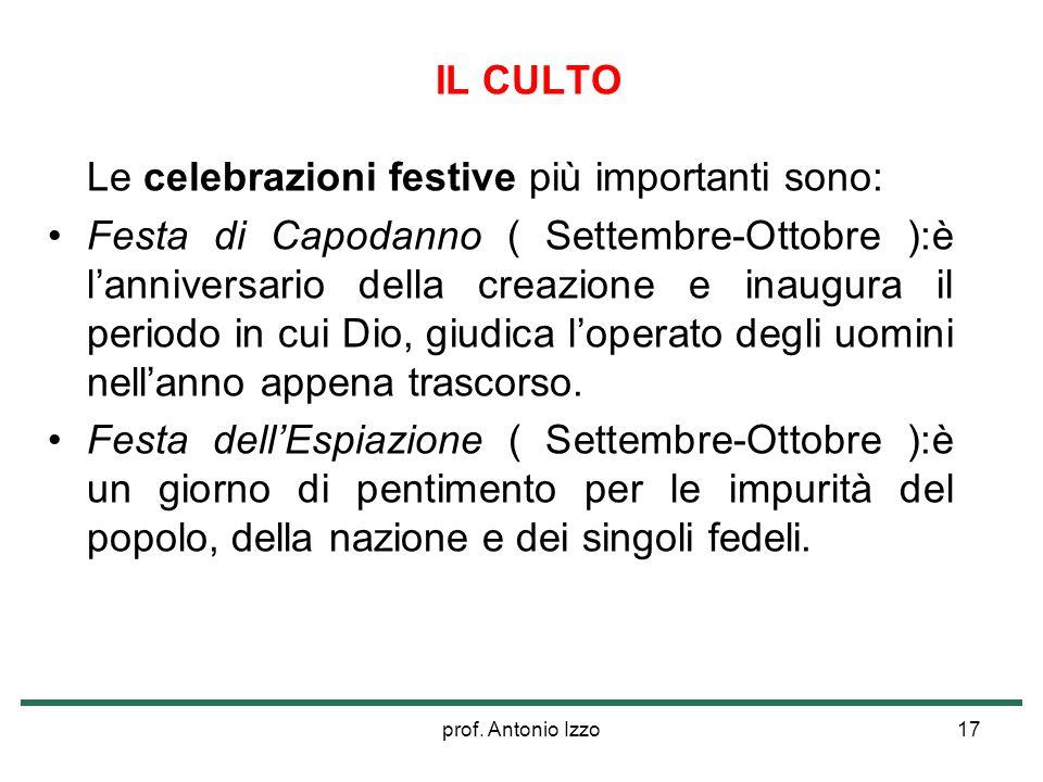prof. Antonio Izzo17 IL CULTO Le celebrazioni festive più importanti sono: Festa di Capodanno ( Settembre-Ottobre ):è lanniversario della creazione e
