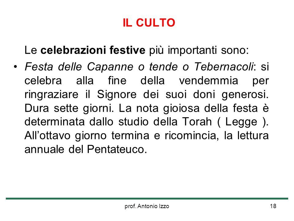 prof. Antonio Izzo18 IL CULTO Le celebrazioni festive più importanti sono: Festa delle Capanne o tende o Tebernacoli: si celebra alla fine della vende
