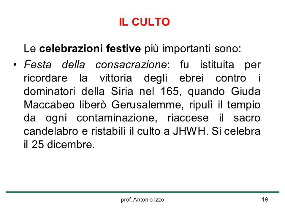 prof. Antonio Izzo19 IL CULTO Le celebrazioni festive più importanti sono: Festa della consacrazione: fu istituita per ricordare la vittoria degli ebr