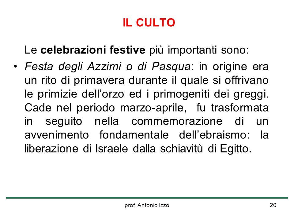prof. Antonio Izzo20 IL CULTO Le celebrazioni festive più importanti sono: Festa degli Azzimi o di Pasqua: in origine era un rito di primavera durante