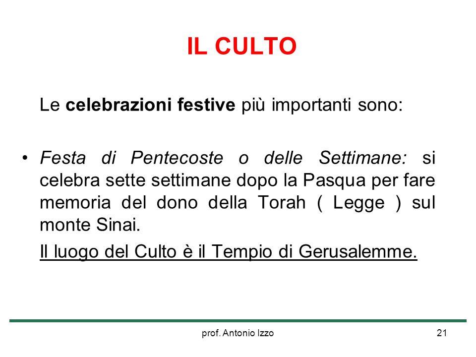prof. Antonio Izzo21 IL CULTO Le celebrazioni festive più importanti sono: Festa di Pentecoste o delle Settimane: si celebra sette settimane dopo la P