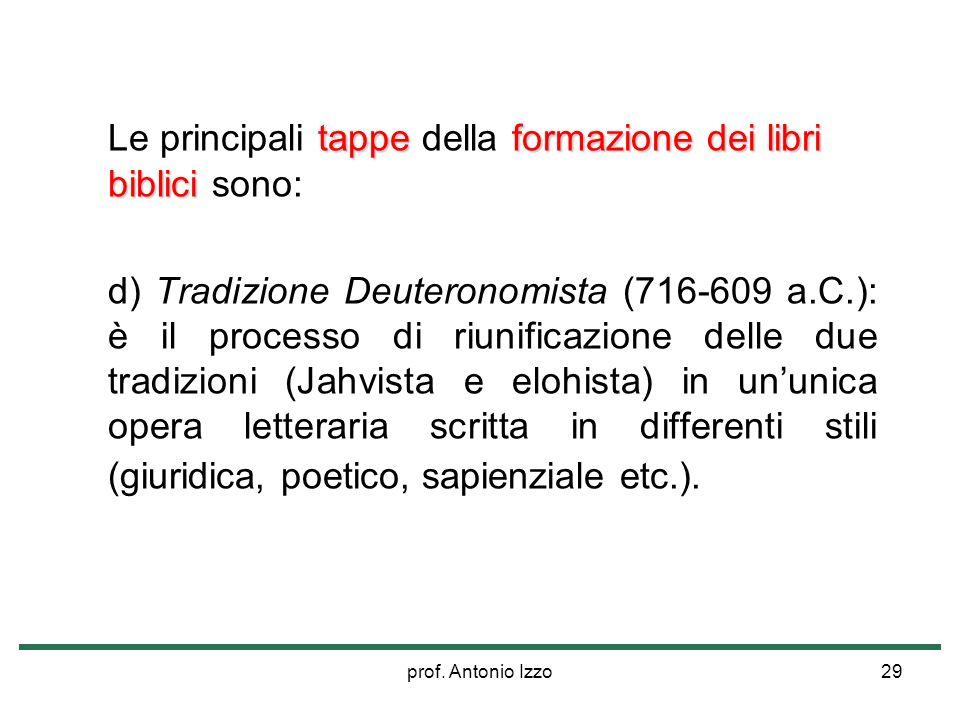 prof. Antonio Izzo29 tappeformazione dei libri biblici Le principali tappe della formazione dei libri biblici sono: d) Tradizione Deuteronomista (716-