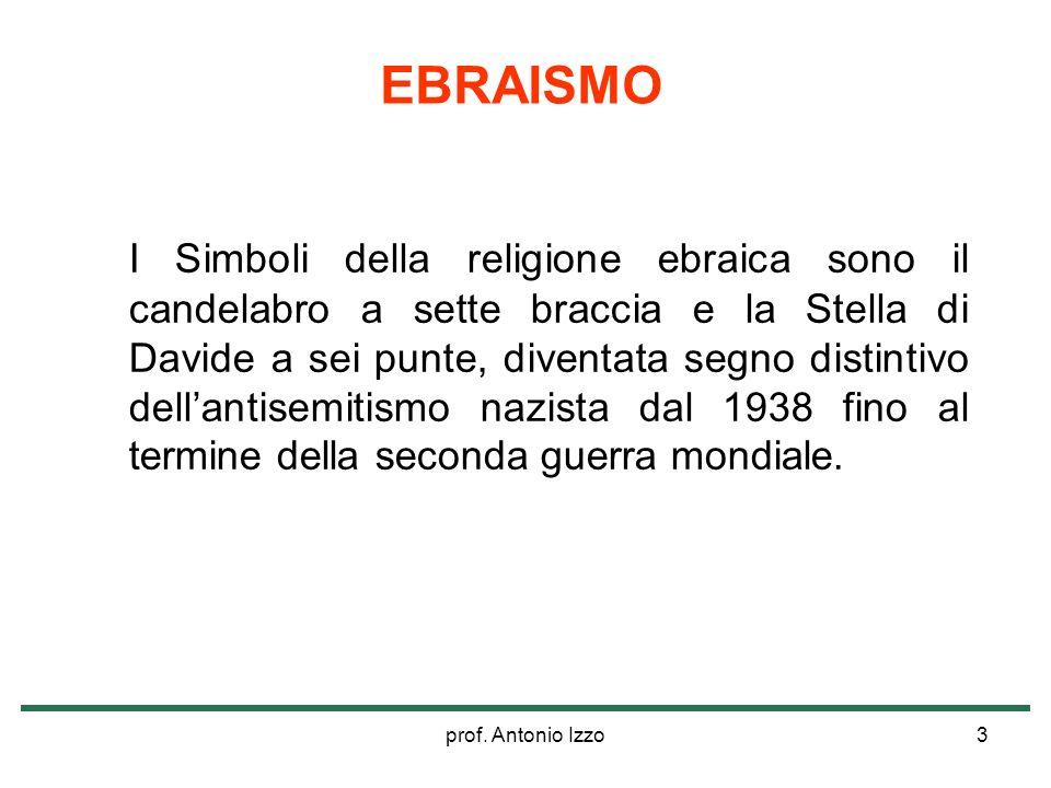 prof. Antonio Izzo3 I Simboli della religione ebraica sono il candelabro a sette braccia e la Stella di Davide a sei punte, diventata segno distintivo