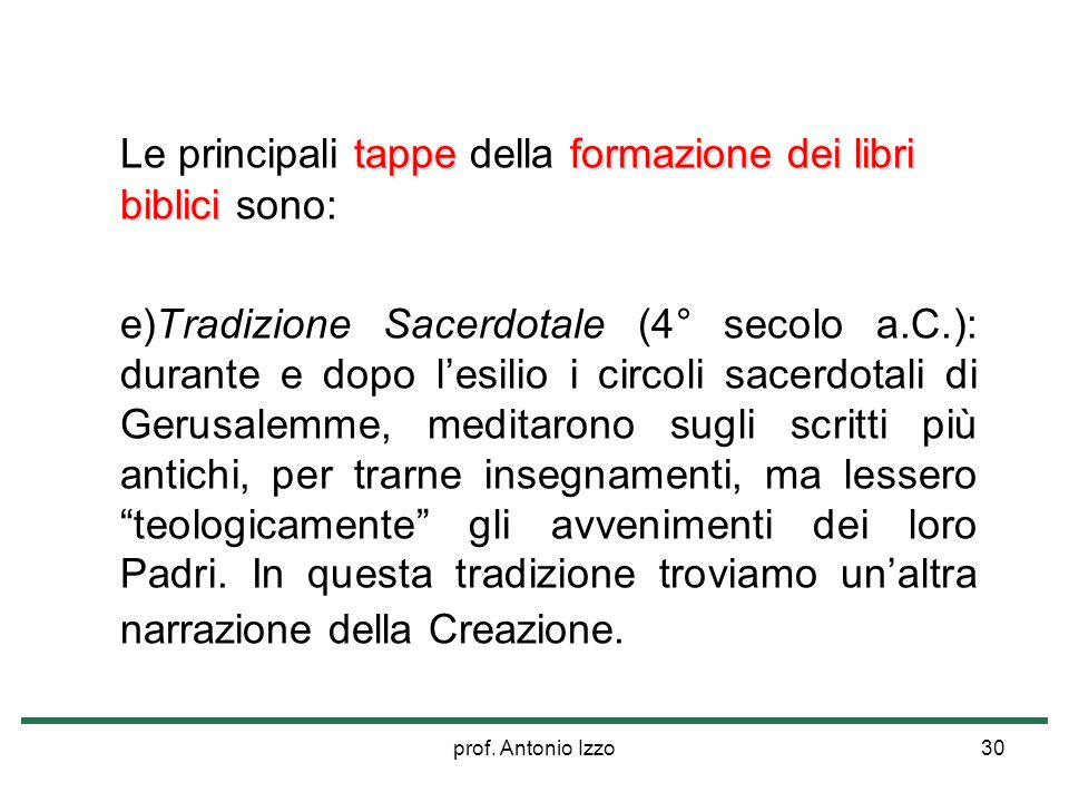 prof. Antonio Izzo30 tappeformazione dei libri biblici Le principali tappe della formazione dei libri biblici sono: e)Tradizione Sacerdotale (4° secol