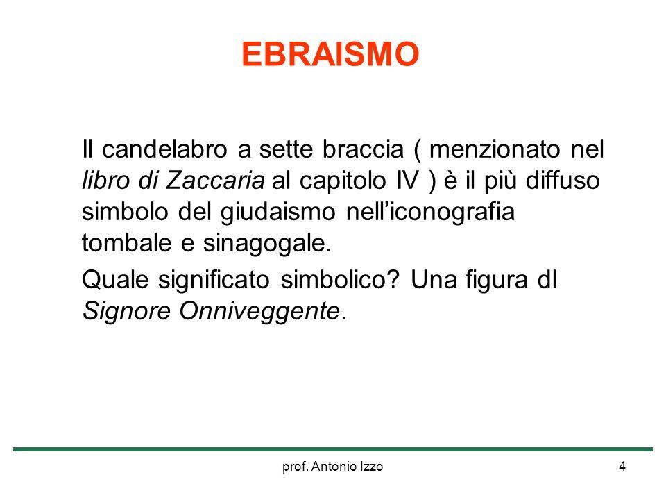 prof. Antonio Izzo4 Il candelabro a sette braccia ( menzionato nel libro di Zaccaria al capitolo IV ) è il più diffuso simbolo del giudaismo nellicono