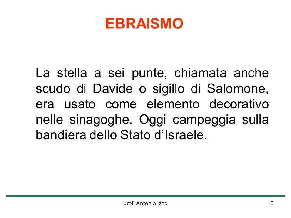 prof. Antonio Izzo5 La stella a sei punte, chiamata anche scudo di Davide o sigillo di Salomone, era usato come elemento decorativo nelle sinagoghe. O