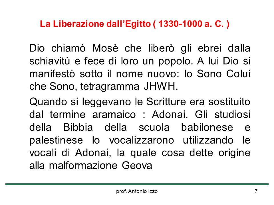 prof. Antonio Izzo7 La Liberazione dallEgitto ( 1330-1000 a. C. ) Dio chiamò Mosè che liberò gli ebrei dalla schiavitù e fece di loro un popolo. A lui
