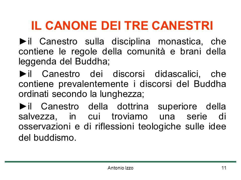 Antonio Izzo11 IL CANONE DEI TRE CANESTRI il Canestro sulla disciplina monastica, che contiene le regole della comunità e brani della leggenda del Bud