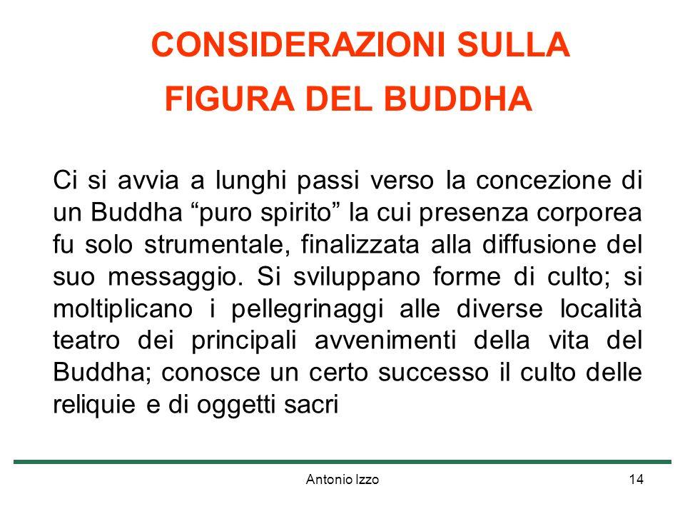 Antonio Izzo14 CONSIDERAZIONI SULLA FIGURA DEL BUDDHA Ci si avvia a lunghi passi verso la concezione di un Buddha puro spirito la cui presenza corporea fu solo strumentale, finalizzata alla diffusione del suo messaggio.