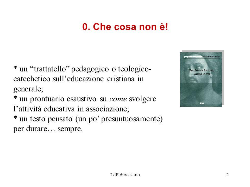 LdF diocesano2 * un trattatello pedagogico o teologico- catechetico sulleducazione cristiana in generale; * un prontuario esaustivo su come svolgere l