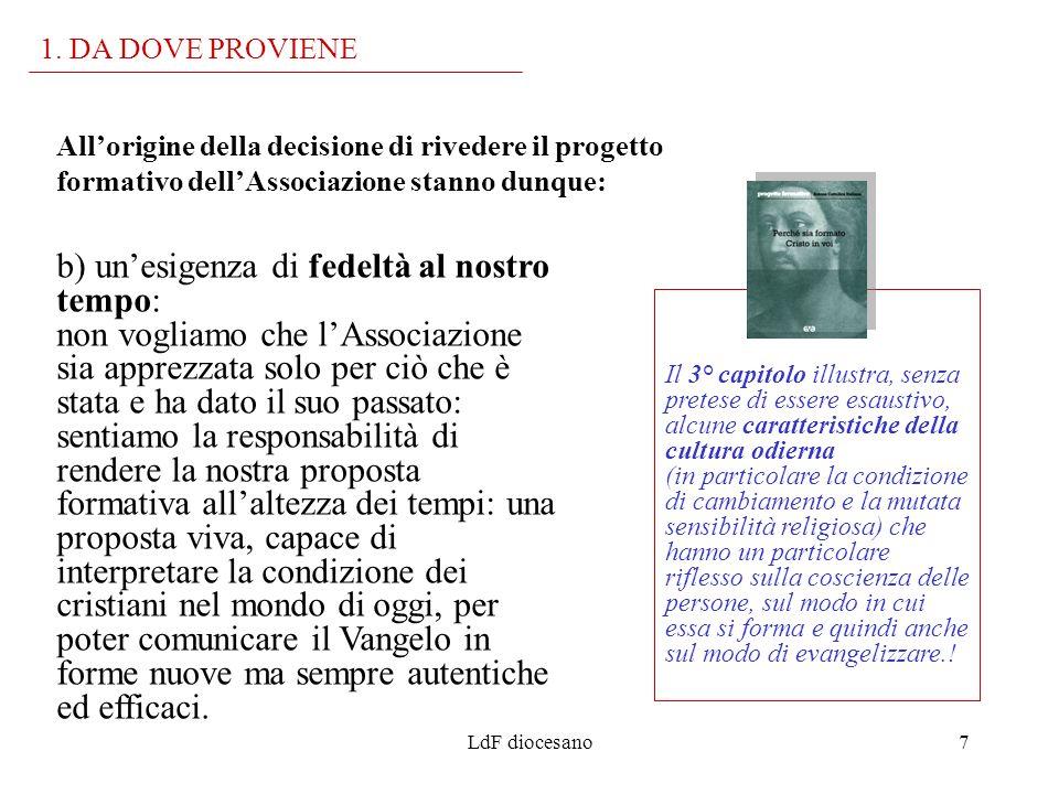 LdF diocesano7 Allorigine della decisione di rivedere il progetto formativo dellAssociazione stanno dunque: 1. DA DOVE PROVIENE Il 3° capitolo illustr