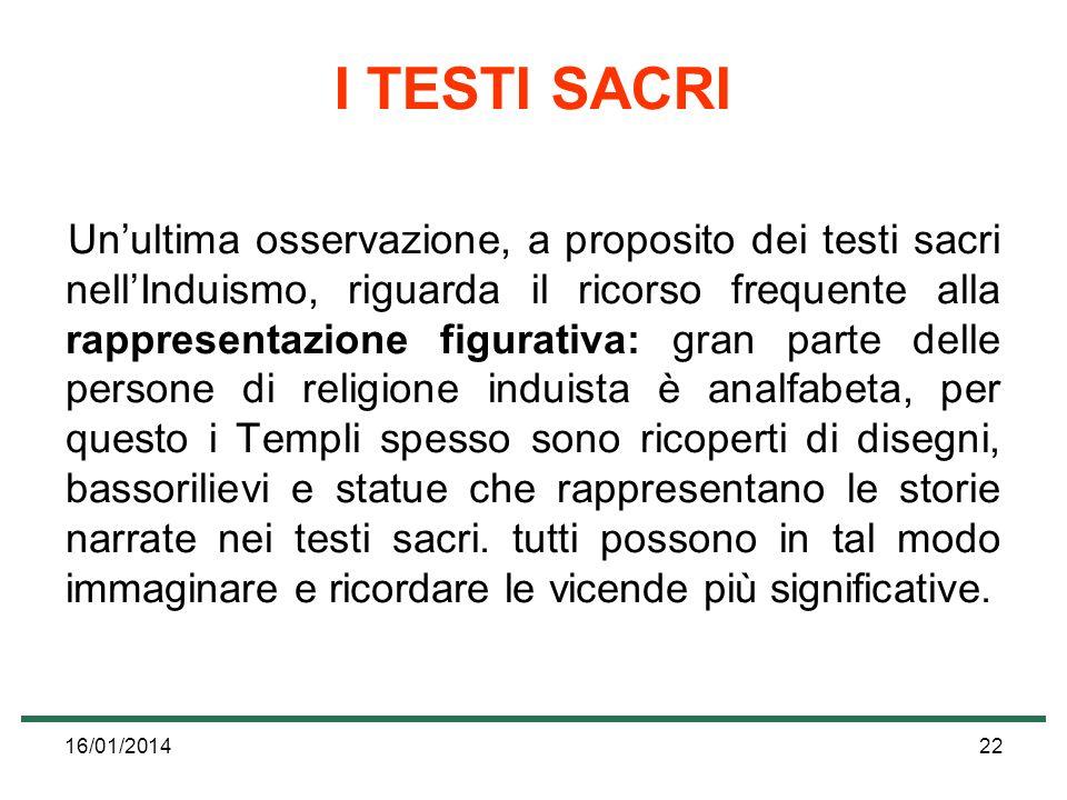 16/01/201422 I TESTI SACRI Unultima osservazione, a proposito dei testi sacri nellInduismo, riguarda il ricorso frequente alla rappresentazione figura