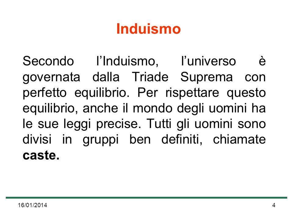16/01/20144 Induismo Secondo lInduismo, luniverso è governata dalla Triade Suprema con perfetto equilibrio. Per rispettare questo equilibrio, anche il