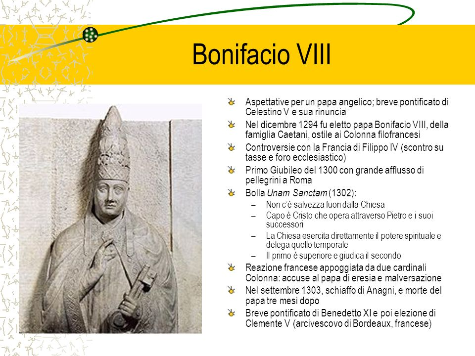 Bonifacio VIII Aspettative per un papa angelico; breve pontificato di Celestino V e sua rinuncia Nel dicembre 1294 fu eletto papa Bonifacio VIII, dell