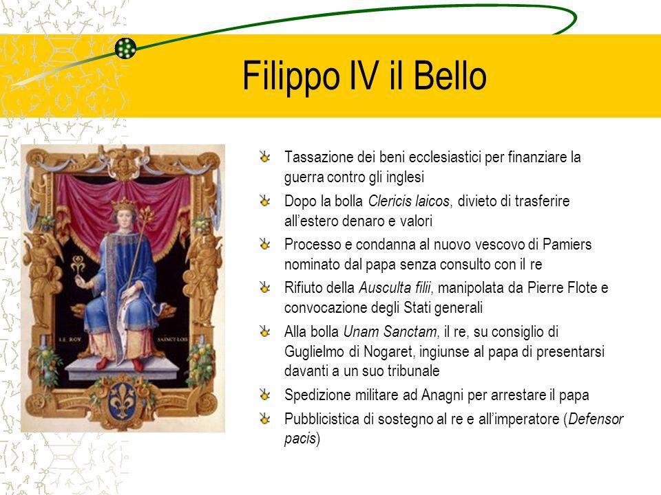 Filippo IV il Bello Tassazione dei beni ecclesiastici per finanziare la guerra contro gli inglesi Dopo la bolla Clericis laicos, divieto di trasferire