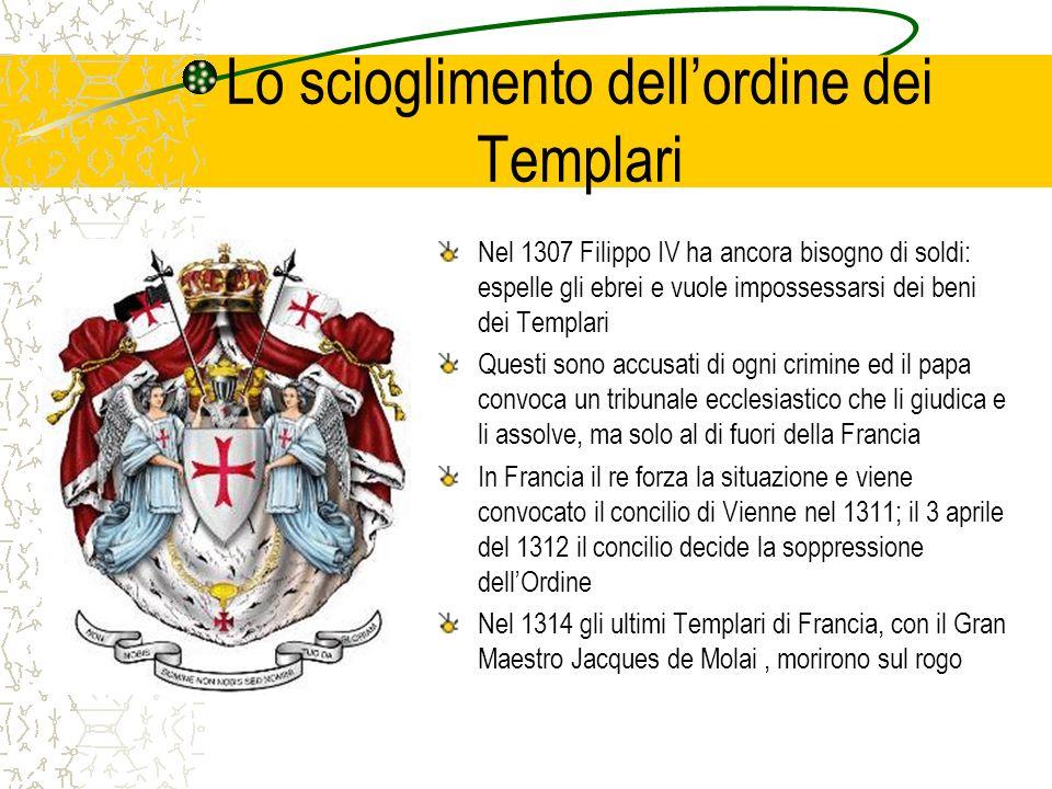 Lo scioglimento dellordine dei Templari Nel 1307 Filippo IV ha ancora bisogno di soldi: espelle gli ebrei e vuole impossessarsi dei beni dei Templari