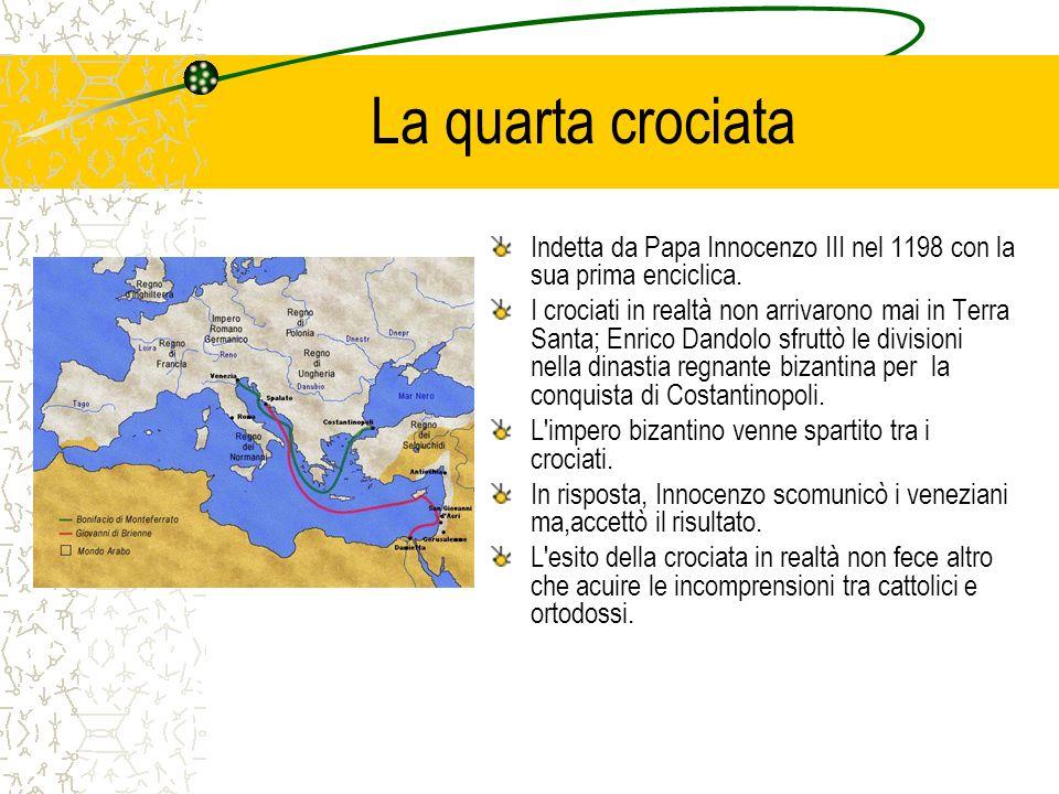 La quarta crociata Indetta da Papa Innocenzo III nel 1198 con la sua prima enciclica. I crociati in realtà non arrivarono mai in Terra Santa; Enrico D