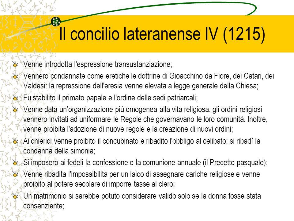 Il concilio lateranense IV (1215) Venne introdotta l'espressione transustanziazione; Vennero condannate come eretiche le dottrine di Gioacchino da Fio