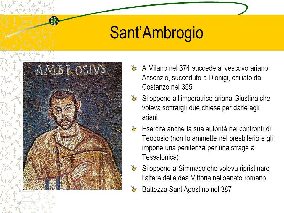 SantAmbrogio A Milano nel 374 succede al vescovo ariano Assenzio, succeduto a Dionigi, esiliato da Costanzo nel 355 Si oppone allimperatrice ariana Gi