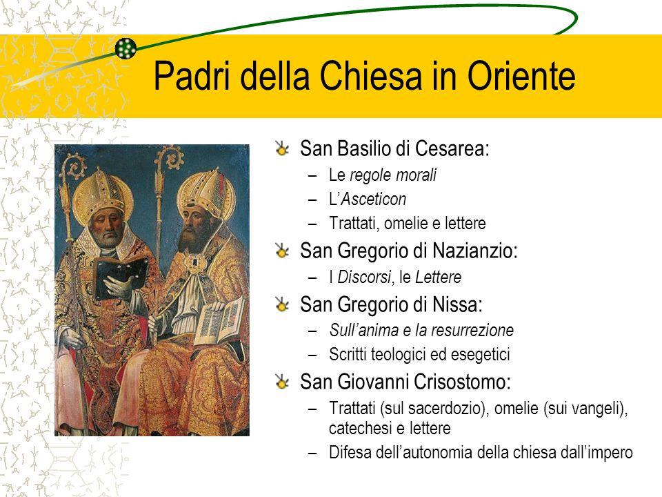 Padri della Chiesa in Oriente San Basilio di Cesarea: –Le regole morali –L Asceticon –Trattati, omelie e lettere San Gregorio di Nazianzio: –I Discors