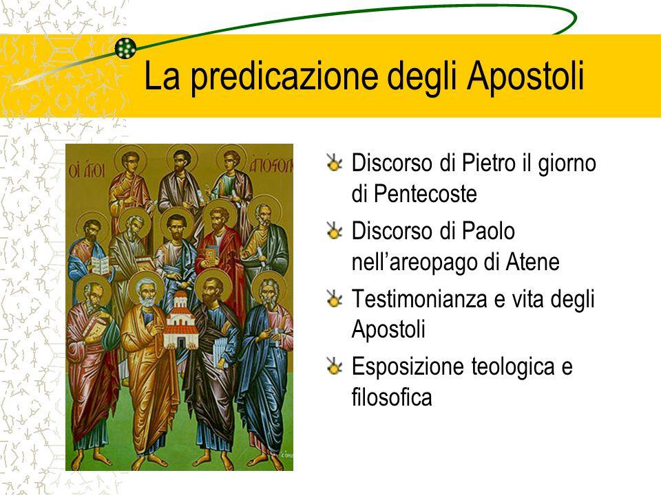 La predicazione degli Apostoli Discorso di Pietro il giorno di Pentecoste Discorso di Paolo nellareopago di Atene Testimonianza e vita degli Apostoli