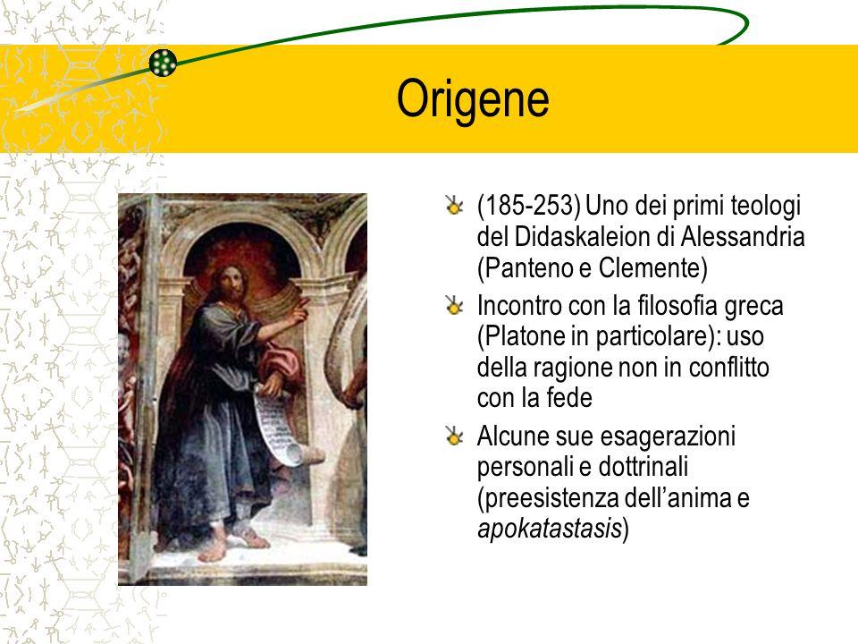 Origene (185-253) Uno dei primi teologi del Didaskaleion di Alessandria (Panteno e Clemente) Incontro con la filosofia greca (Platone in particolare):