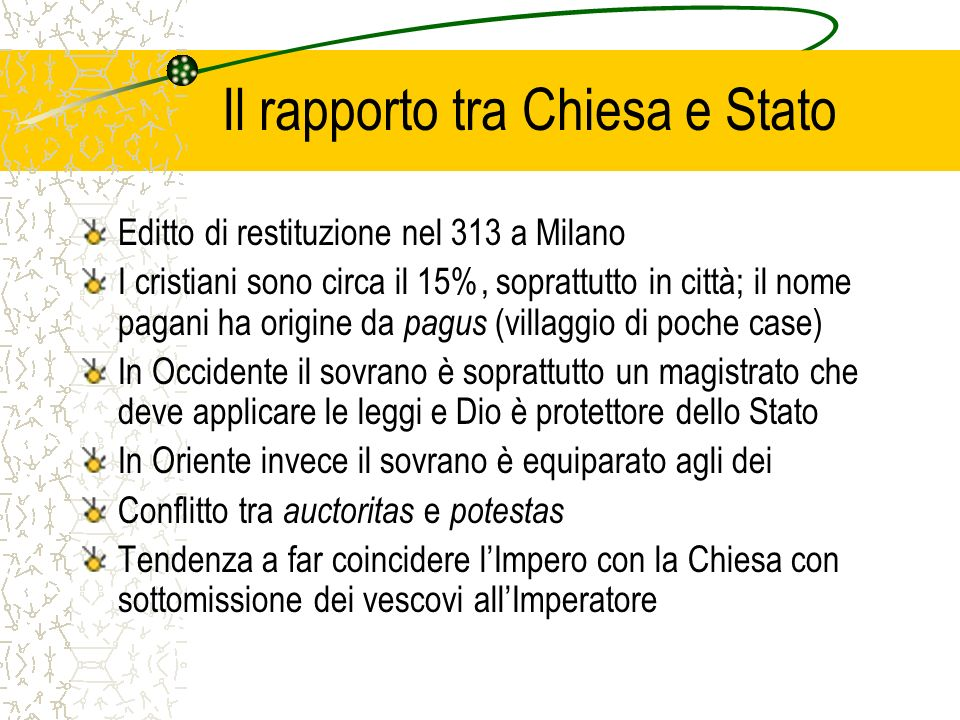 Il rapporto tra Chiesa e Stato Editto di restituzione nel 313 a Milano I cristiani sono circa il 15%, soprattutto in città; il nome pagani ha origine