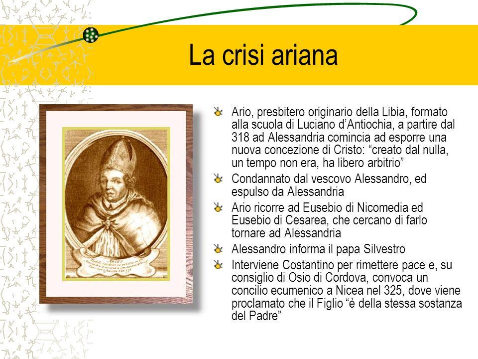 SantAtanasio Atanasio, a Nicea è stato il principale difensore dellortodossia e diventa vescovo di Alessandria nel 328 Accusato di ribellione viene esiliato a Treviri nel 335, ma alla morte di Costantino nel 337 viene riabilitato da suo figlio Costantino II In Oriente però limperatore Costanzo è ariano e, attraverso vari concili manovrati, si oppone ad Atanasio che deve fuggire più volte A Costantino II, nel 340, succede il fratello Costante, ucciso nel 350 da un usurpatore, ucciso a suavolta da Costanzo nel 353 Giuliano succede a Costanzo nel 360 e si dichiara pagano e restauratore dei culti pagani Il suo tentativo fallisce; gli succedono Valentiniano I e Valente (ariano)