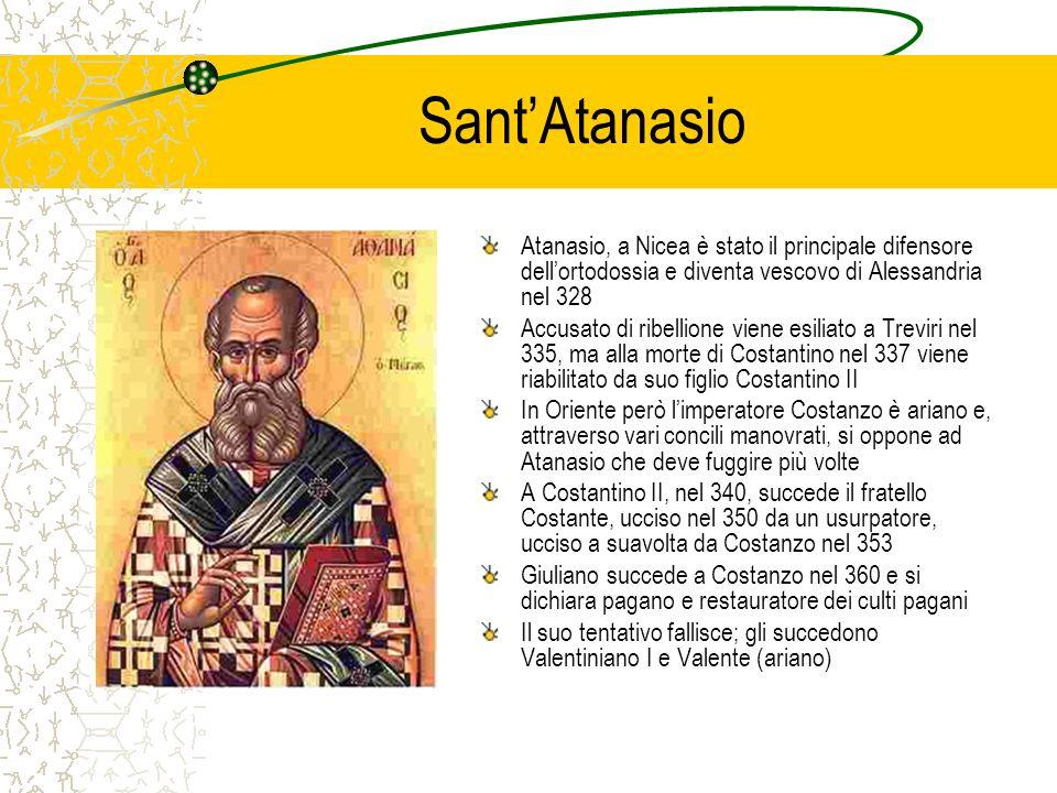 SantAtanasio Atanasio, a Nicea è stato il principale difensore dellortodossia e diventa vescovo di Alessandria nel 328 Accusato di ribellione viene es