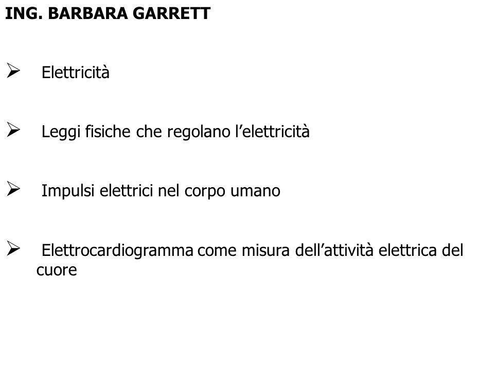 ING. BARBARA GARRETT Elettricità Leggi fisiche che regolano lelettricità Impulsi elettrici nel corpo umano Elettrocardiogramma come misura dellattivit