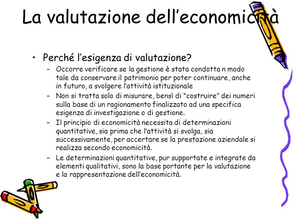 La valutazione delleconomicità Perché lesigenza di valutazione? –Occorre verificare se la gestione è stata condotta n modo tale da conservare il patri