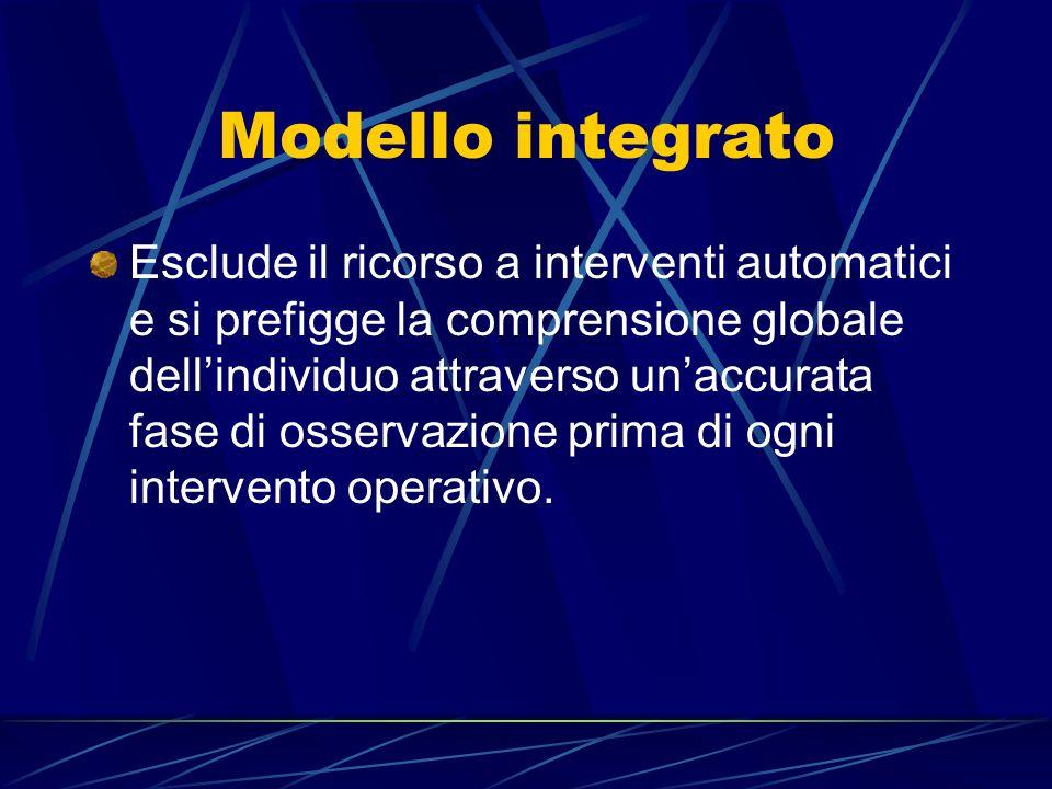 Modello integrato Esclude il ricorso a interventi automatici e si prefigge la comprensione globale dellindividuo attraverso unaccurata fase di osserva