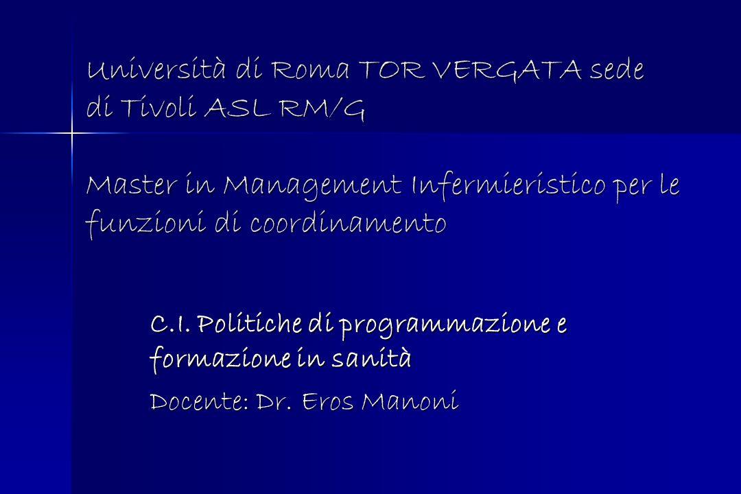 Università di Roma TOR VERGATA sede di Tivoli ASL RM/G Master in Management Infermieristico per le funzioni di coordinamento C.I. Politiche di program