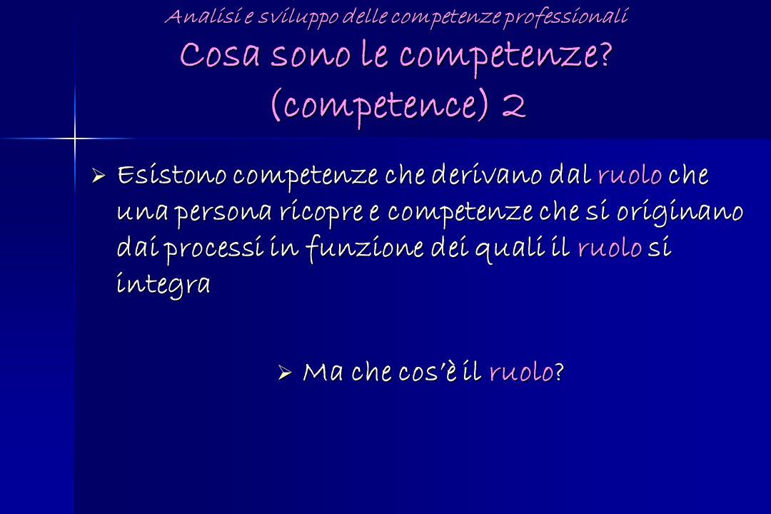 Esistono competenze che derivano dal ruolo che una persona ricopre e competenze che si originano dai processi in funzione dei quali il ruolo si integr