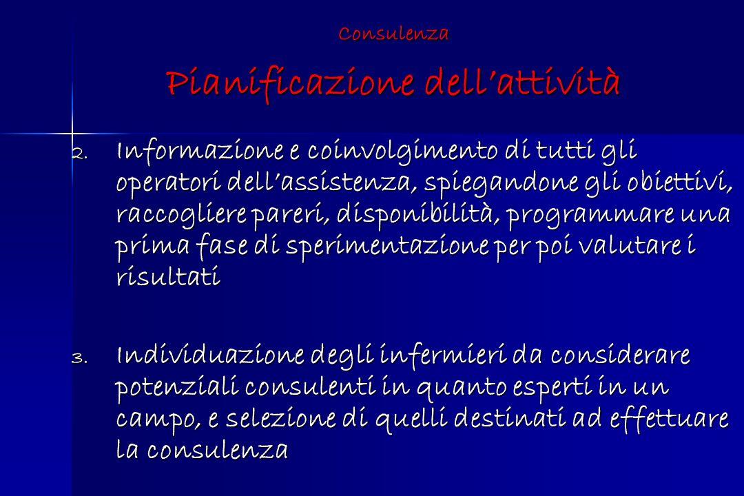 Consulenza Pianificazione dellattività 2. Informazione e coinvolgimento di tutti gli operatori dellassistenza, spiegandone gli obiettivi, raccogliere