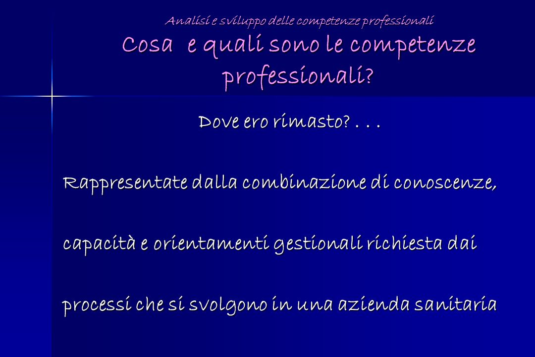 Analisi e sviluppo delle competenze professionali Cosa e quali sono le competenze professionali? Dove ero rimasto?... Rappresentate dalla combinazione