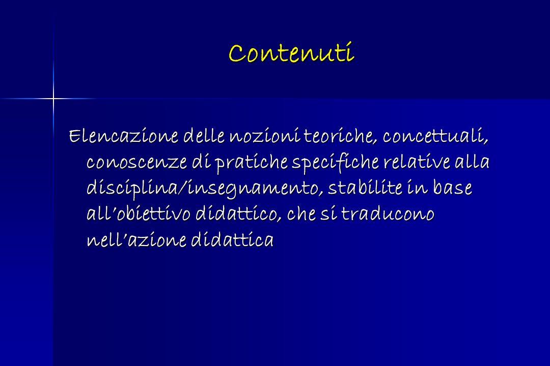 Contenuti Elencazione delle nozioni teoriche, concettuali, conoscenze di pratiche specifiche relative alla disciplina/insegnamento, stabilite in base