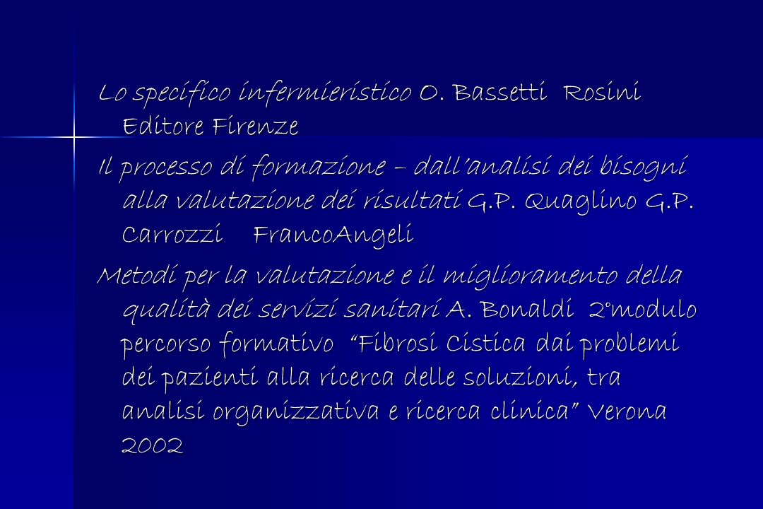 Lo specifico infermieristico O. Bassetti Rosini Editore Firenze Il processo di formazione – dallanalisi dei bisogni alla valutazione dei risultati G.P