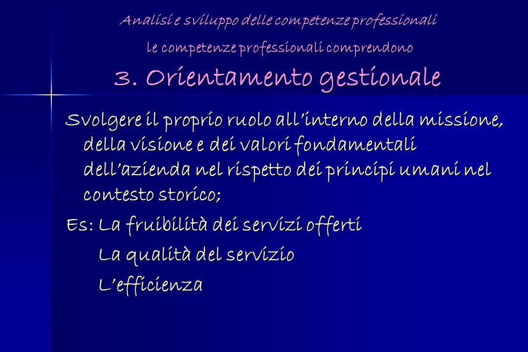 Analisi e sviluppo delle competenze professionali le competenze professionali comprendono 3. Orientamento gestionale Svolgere il proprio ruolo allinte