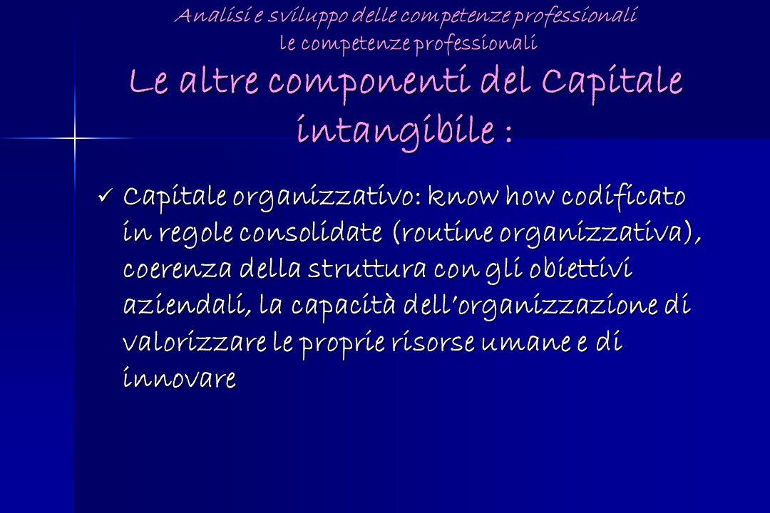 Analisi e sviluppo delle competenze professionali le competenze professionali Le altre componenti del Capitale intangibile : Capitale organizzativo: k