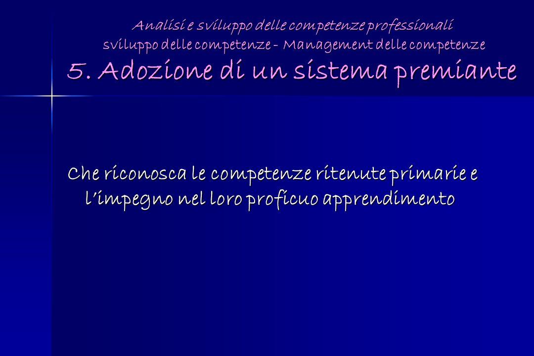 Analisi e sviluppo delle competenze professionali sviluppo delle competenze - Management delle competenze 5. Adozione di un sistema premiante Che rico
