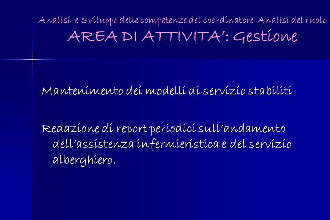Analisi e Sviluppo delle competenze del coordinatore Analisi del ruolo AREA DI ATTIVITA: Gestione Mantenimento dei modelli di servizio stabiliti Redaz