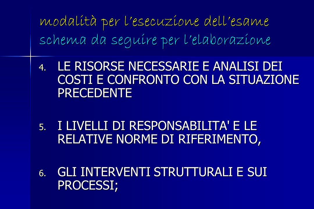 modalità per lesecuzione dellesame schema da seguire per lelaborazione 7.