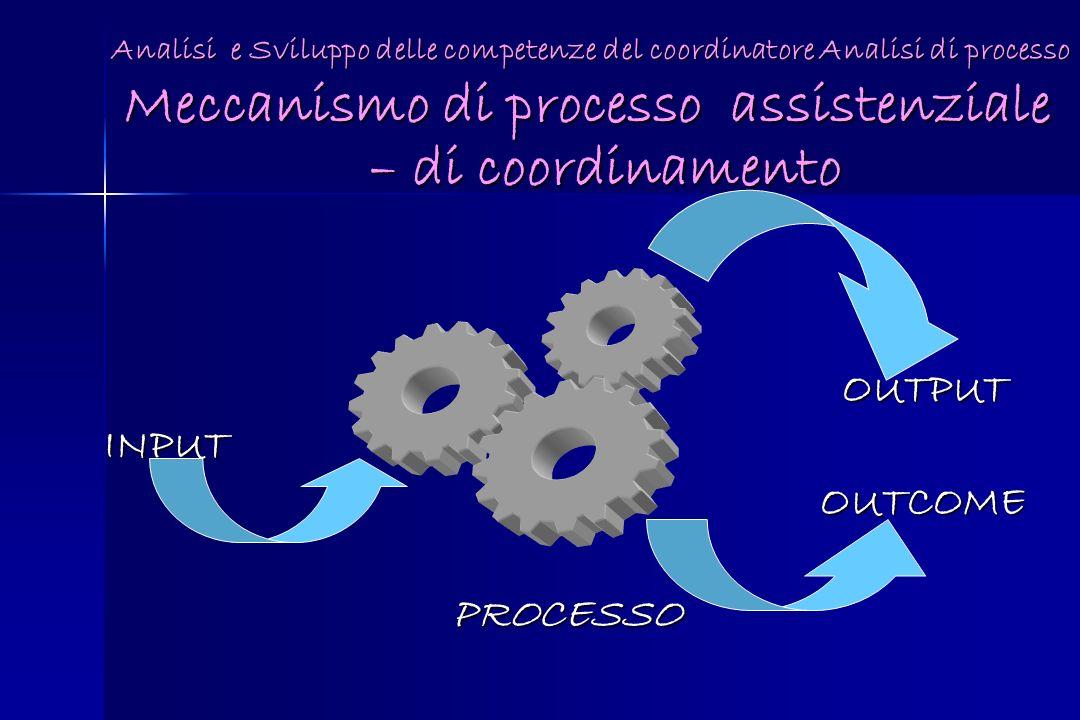 Meccanismo di processo assistenziale – di coordinamento OUTPUT OUTPUTINPUT OUTCOME OUTCOME PROCESSO PROCESSO Analisi e Sviluppo delle competenze del c