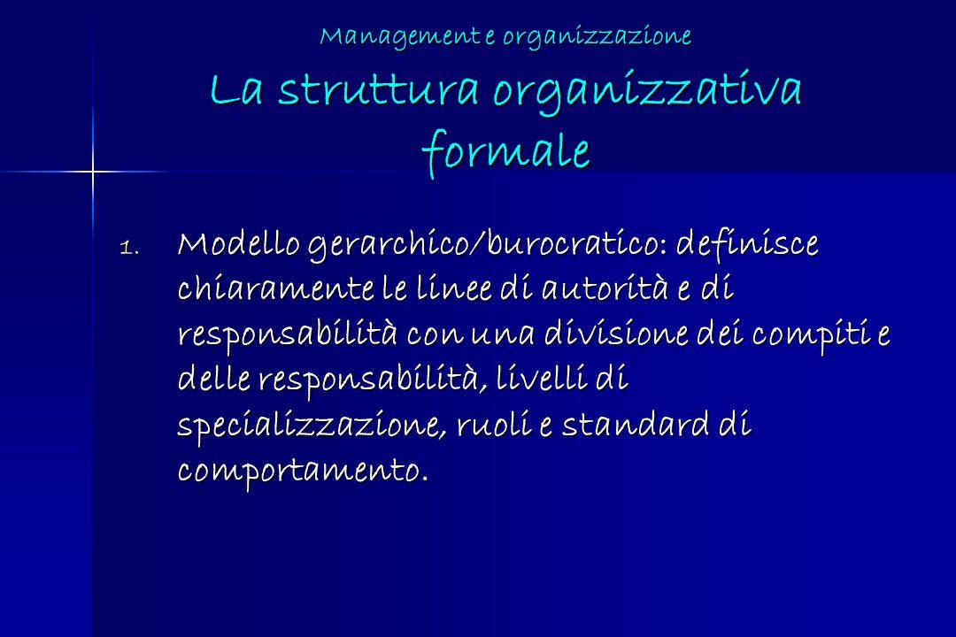 Management e organizzazione La struttura organizzativa formale 1. Modello gerarchico/burocratico: definisce chiaramente le linee di autorità e di resp