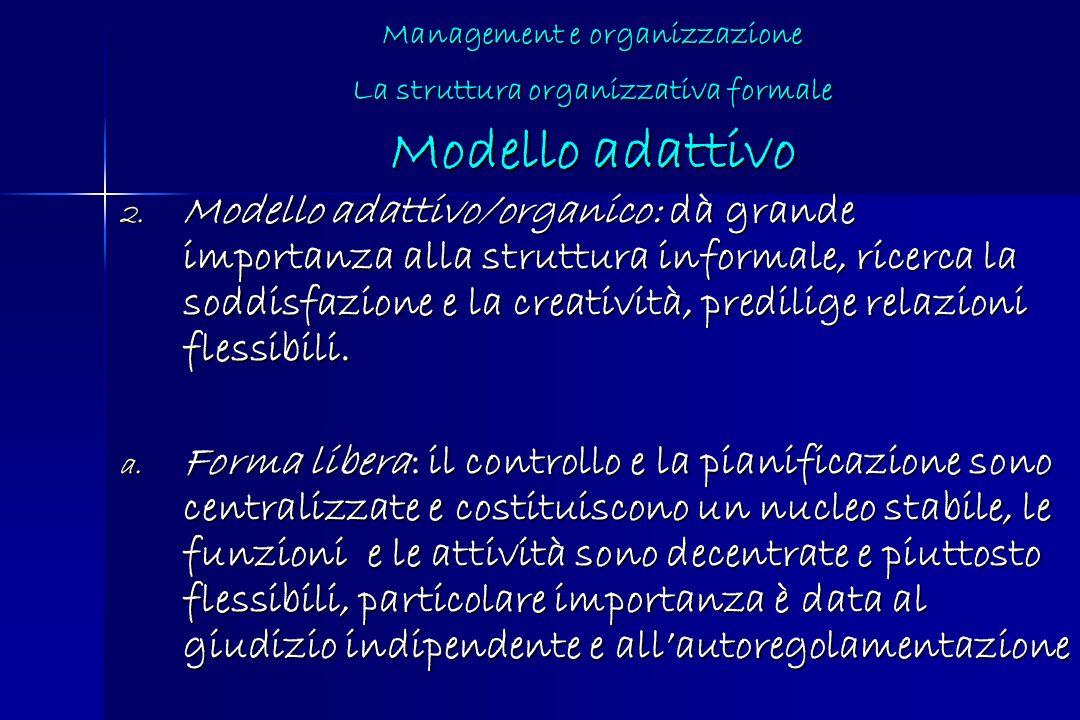 Management e organizzazione La struttura organizzativa formale Modello adattivo 2. Modello adattivo/organico: dà grande importanza alla struttura info