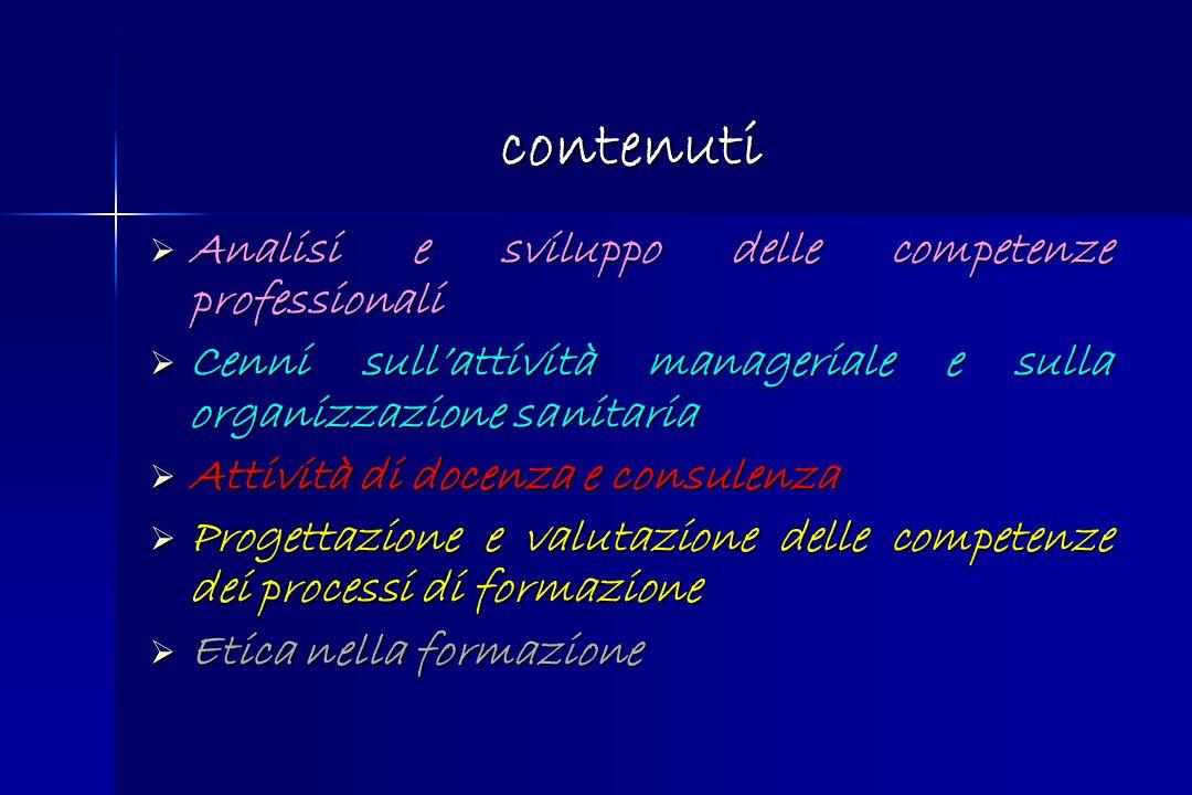 contenuti Analisi e sviluppo delle competenze professionali Analisi e sviluppo delle competenze professionali Cenni sullattività manageriale e sulla o