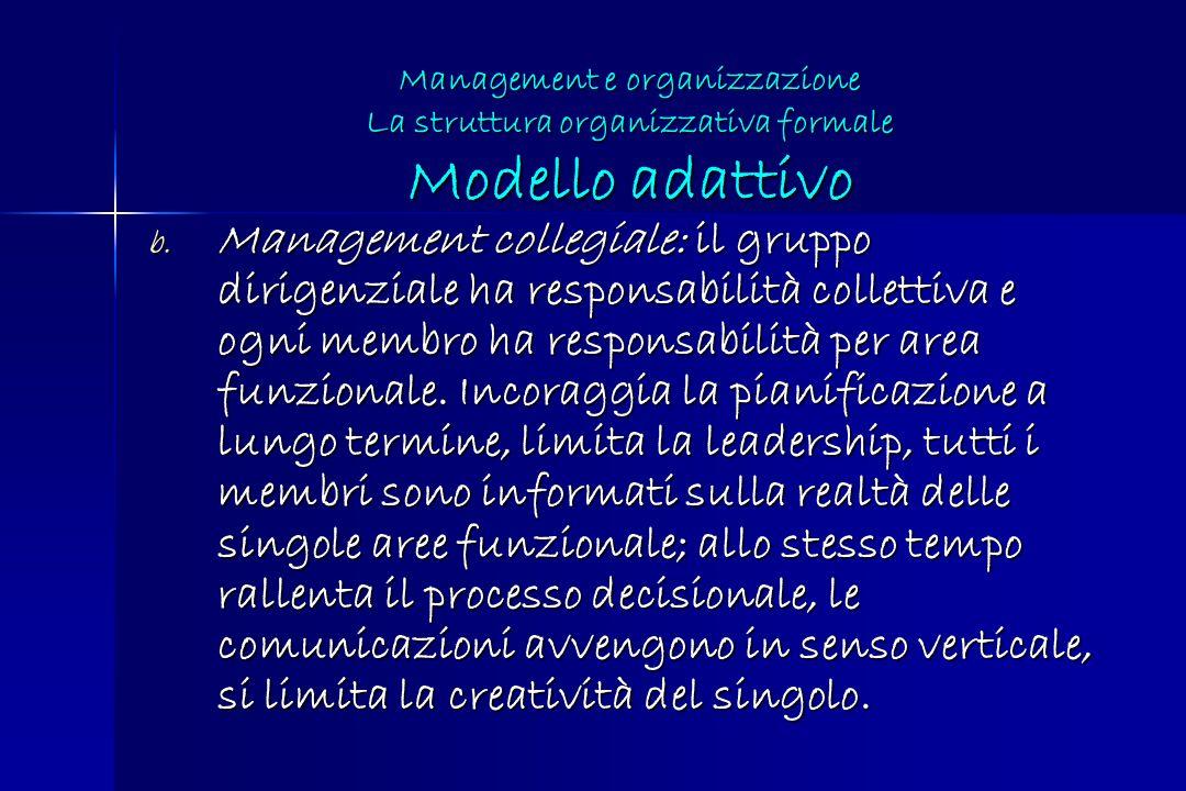 b. Management collegiale: il gruppo dirigenziale ha responsabilità collettiva e ogni membro ha responsabilità per area funzionale. Incoraggia la piani